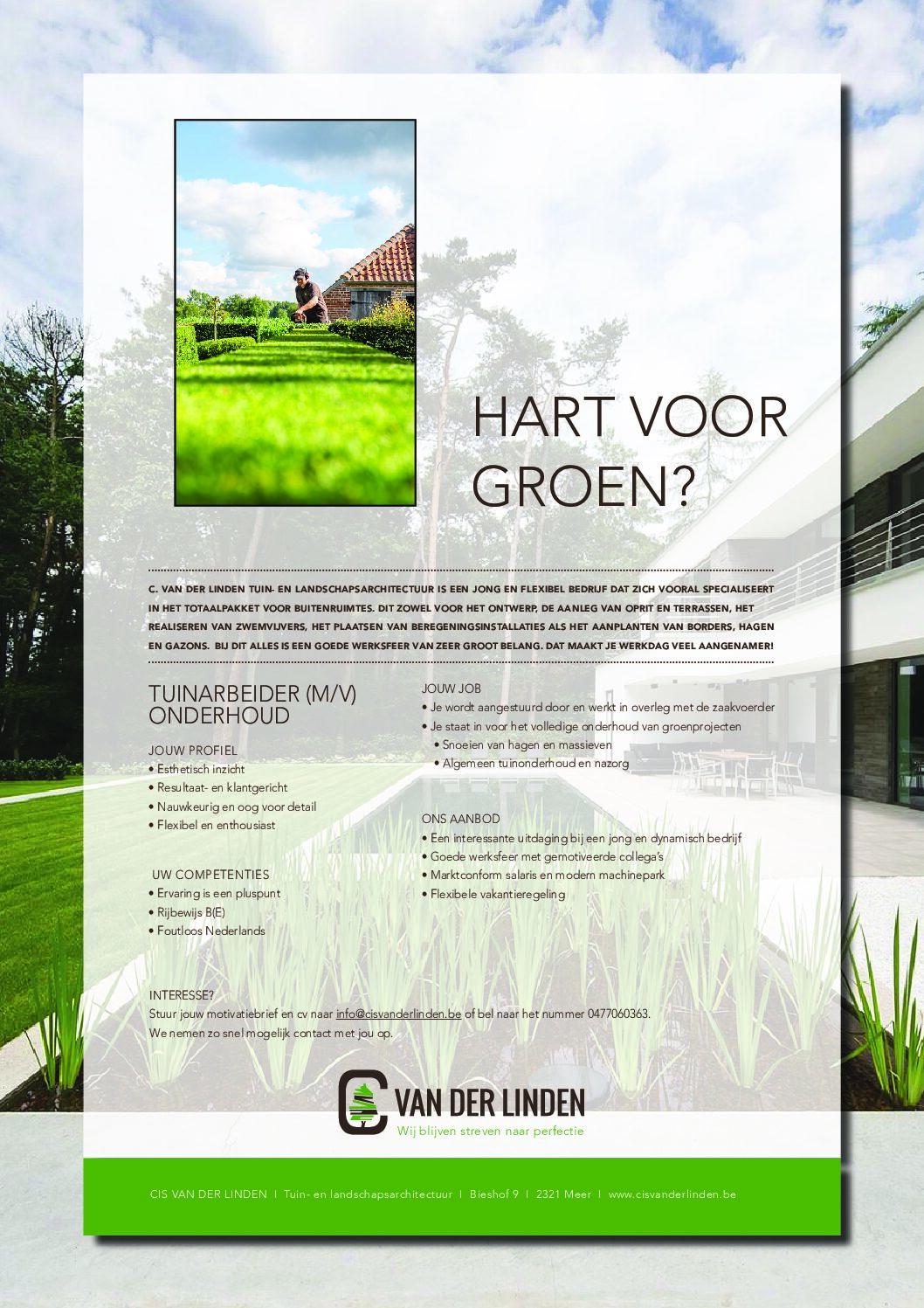 Vacatures - Cis Van der Linden Tuinaanneming en -Architectuur